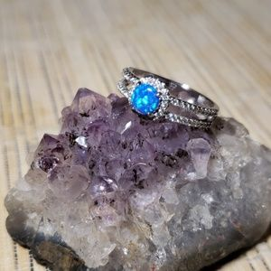 Blue Fire Opal Fashioned Sliver Toned Ring